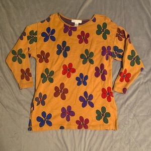 The Limited Yellow Floral Sweater EUC Size L